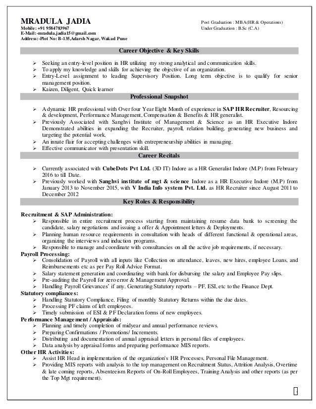 career objective for hr recruiter