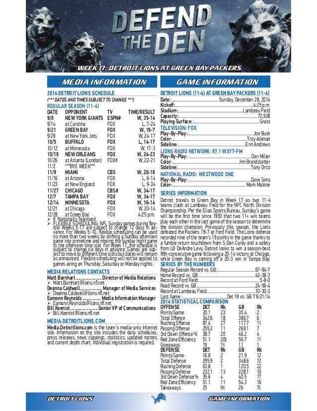 99431635d GAME INFORMATIONDETROIT LIONS 2014 DETROIT LIONS SCHEDULE (    DATES AND  TIMES SUBJECT TO ...