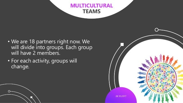 28.10.2017 • We are 18 partners right now. We will divide into groups. Each group will have 2 members. • For each activity...