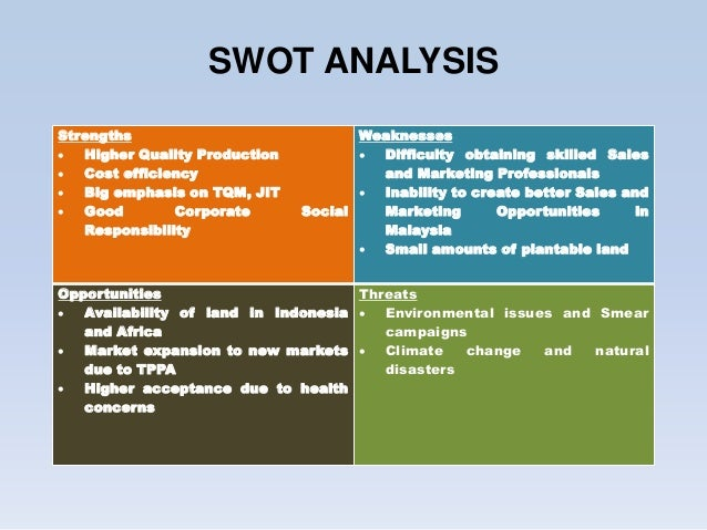 swot analysis sime darby • sime darby plantation (sdp) is the agricultural division of sime darby group and with the merger of sime darby berhad, golden hope plantations berhad and kumpulan guthrie berhad in 2007, • sdp is one of the world's largest palm oil producers with 24 million tonnes of crude palm oil (cpo) annual output.
