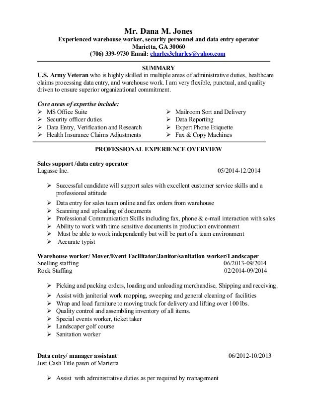 dana new resume 2014 data entry - Resume Data Entry Description