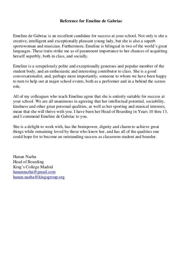 Reference Letter Emeline de Gabriac Mrs Nazha KINGs COLLEGE Sept 2015