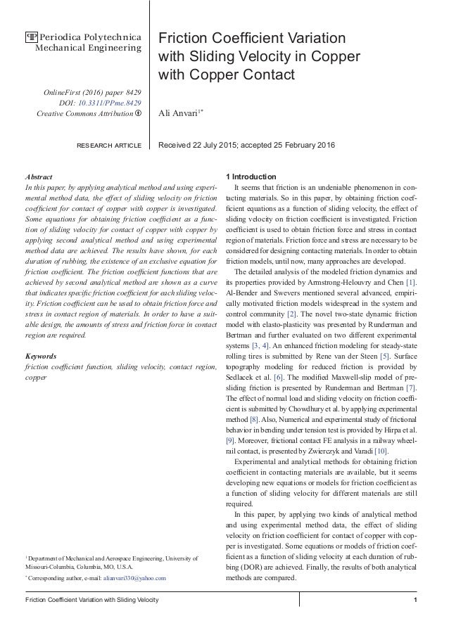 1Friction Coefficient Variation with Sliding Velocity Friction Coefficient Variation with Sliding Velocity in Copper with ...