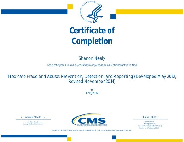 certificate cms slideshare medicare educational activity upcoming form