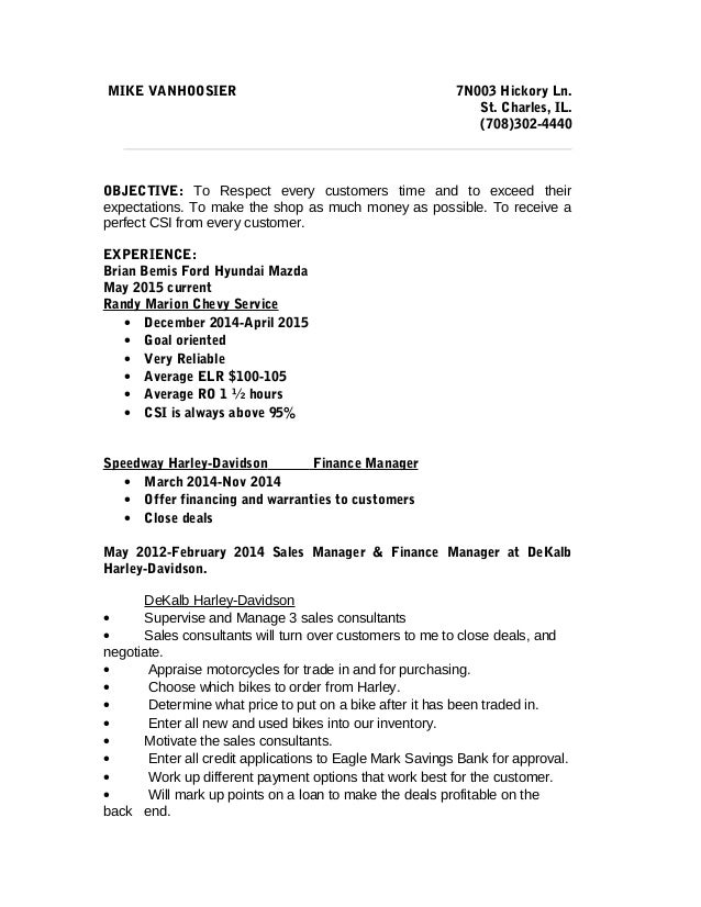 Mike Service Writer Resume. MIKE VANHOOSIER 7N003 Hickory Ln. St. Charles,  IL.