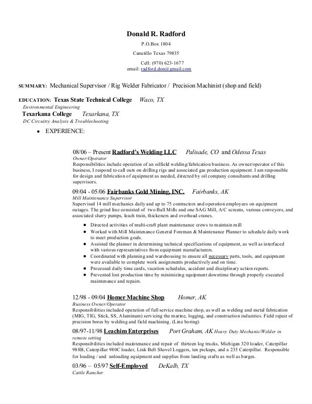 don s mechanical resume