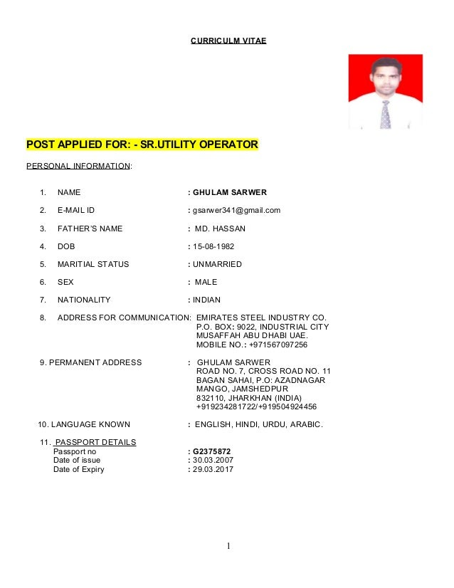 Wonderful RAJU LETEST UTILITY RESUME. CURRICULM VITAE POST APPLIED FOR:   SR.UTILITY  OPERATOR PERSONAL INFORMATION: 1.
