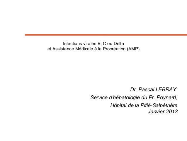 Infections virales B, C ou Delta et Assistance Médicale à la Procréation (AMP) Dr. Pascal LEBRAY Service d'hépatologie du ...
