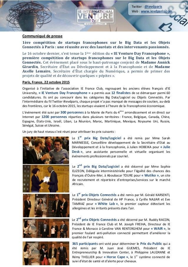 Communiqué de presse 1ère compétition de startups francophones sur le Big Data et les Objets Connectés à Paris : une réuss...