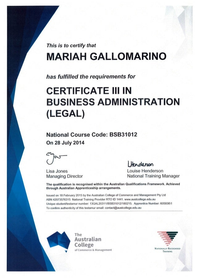 Certificate Iii Business Administration Legal