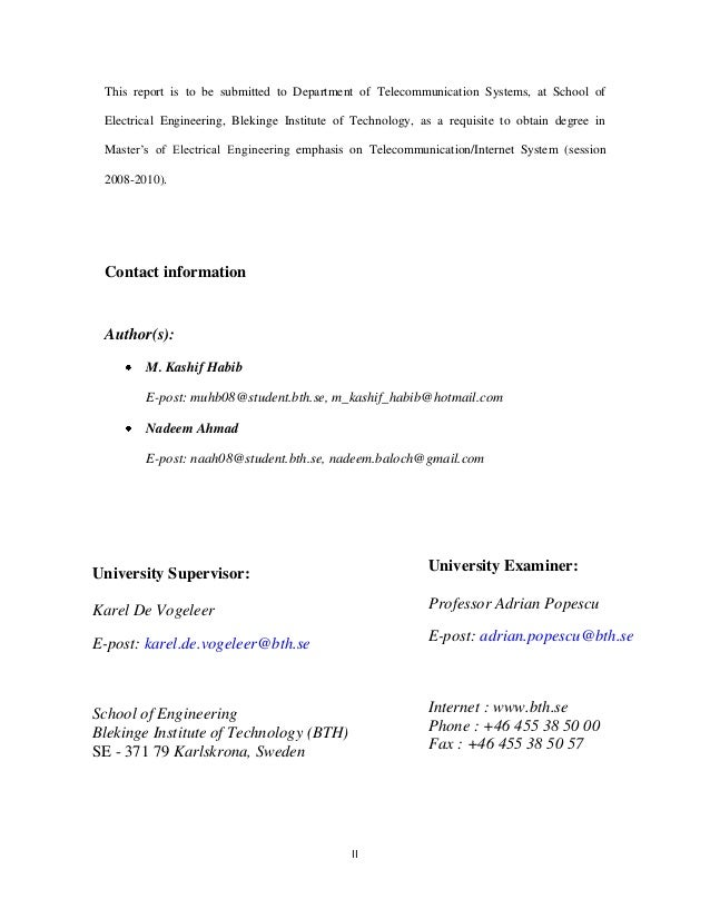 Master thesis in telecommunication engineering