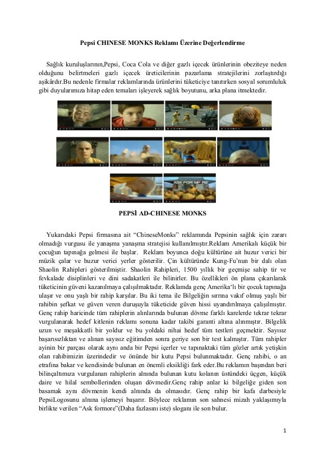 pepsi commercial with chinese monks as art essay Pepsi-cross cultural management essay of the last decades in economic and commercial with chinese partners and seeking to hire.