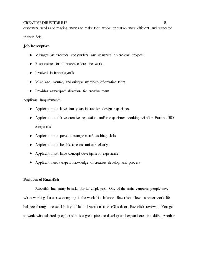 RJP – Creative Director Job Description