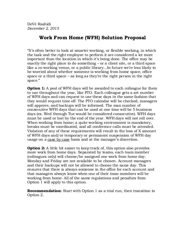 Work from home proposal