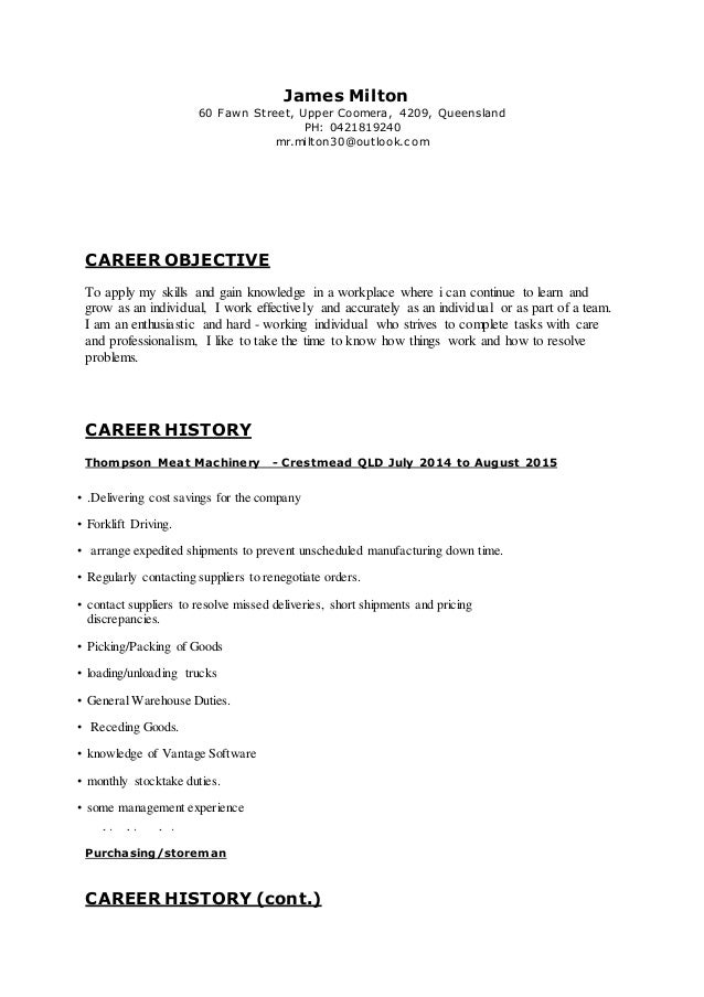James Resume 2015 Updated storeman