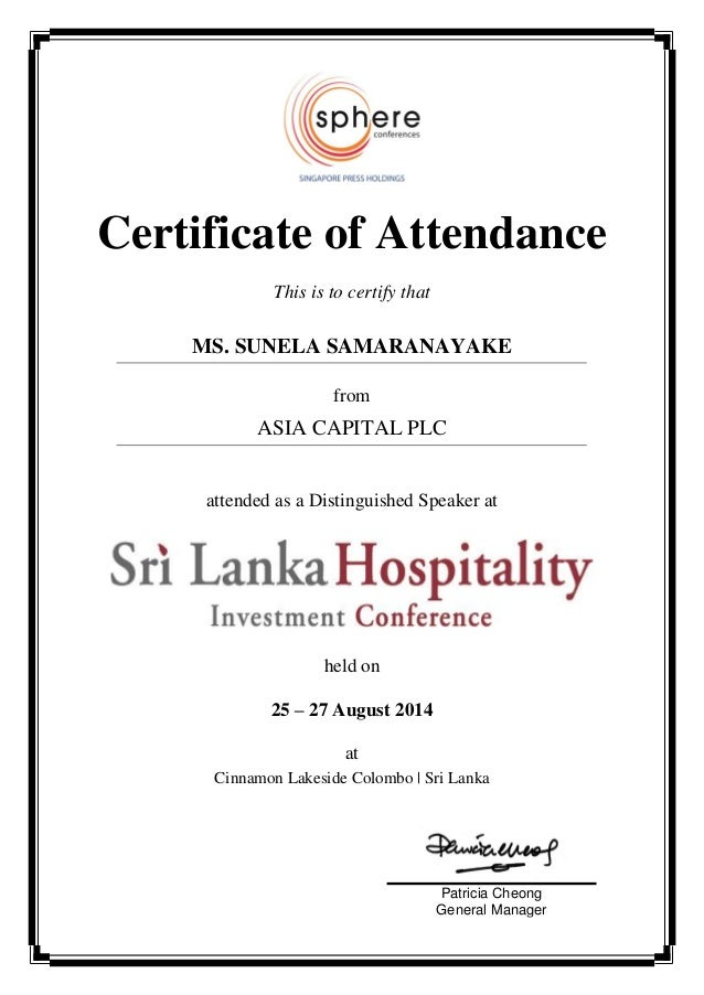 Certificate Of Attendance Shic 2014speaker