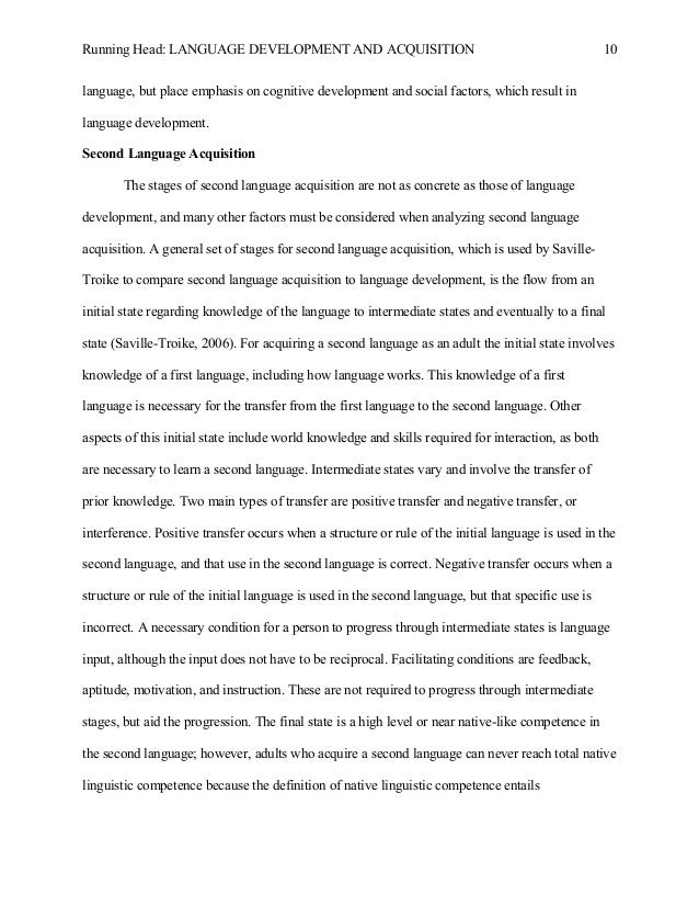 extended essay 10 running head language development and acquisition