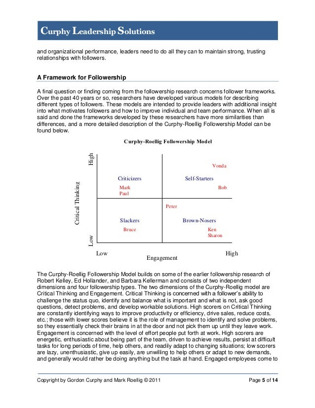 followership essay In this paper i will discuss what followership is to me and what is expected out of a follower i will introduce followers from different realms and show what they did to become the famous people they are today also i will be introducing bad followership values on followers no one is born a.