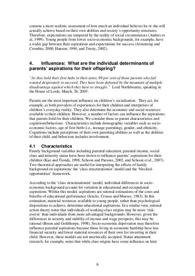 Determinants of Aspirations