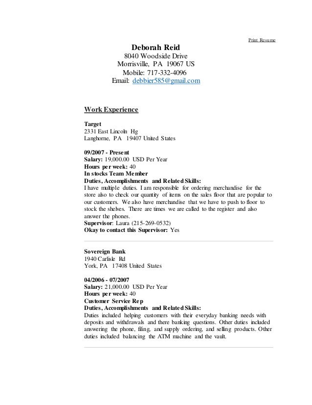 Debbie Reid Resume new 010916