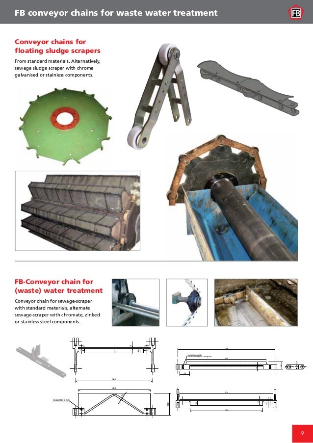 9 FB-Conveyor chain for (waste) water treatment Conveyor chain for sewage-scraper with standard materials, alternate sewag...