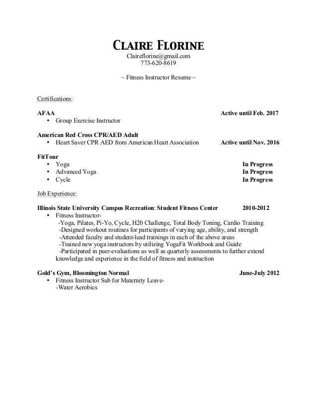 Claire Florine Fitness Instructor Resume