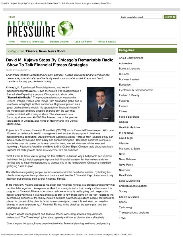 David M. Kujawa Stops By Chicago's Remarkable Radio Show To Talk Financial Fitness Strategies | Authority Press Wire http:...