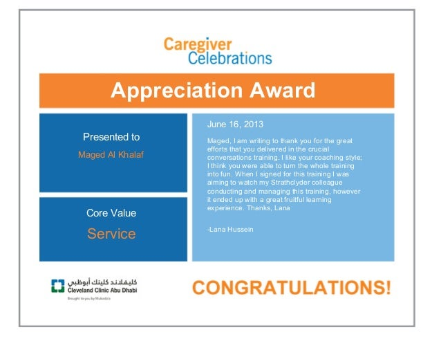 Appreciation Award   Presented to Maged Al Khalaf  June 16, 2013 Maged, I am writing to thank you for the great efforts th...