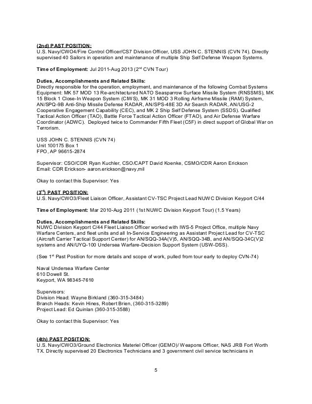 Resume CWO4 James East – Navy Financial Planning Worksheet