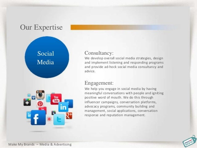 Consultancy: We develop overall social media strategies, design and implement listening and responding programs and provid...