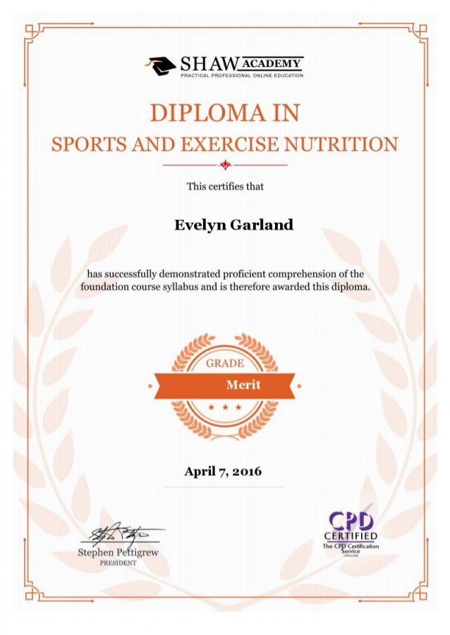 Certificate Of Sports Nutrition Diploma