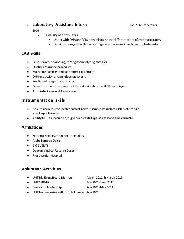 resume for lab jobs