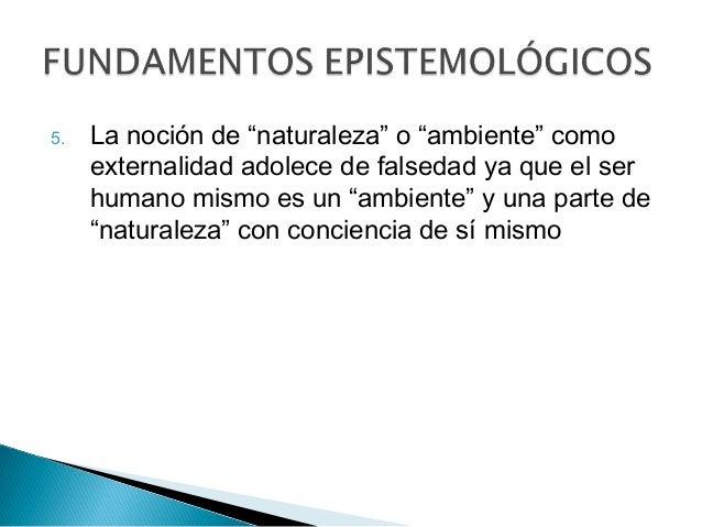 """5. La noción de """"naturaleza"""" o """"ambiente"""" como externalidad adolece de falsedad ya que el ser humano mismo es un """"ambiente..."""