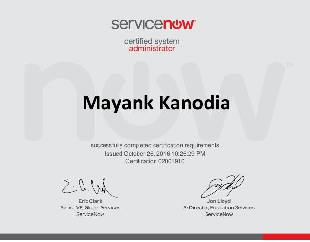 ServiceNow Certified System Administrator