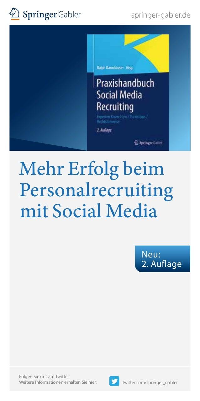 springer-gabler.de Mehr Erfolg beim Personalrecruiting mit Social Media Folgen Sie uns auf Twitter Weitere Informationen e...