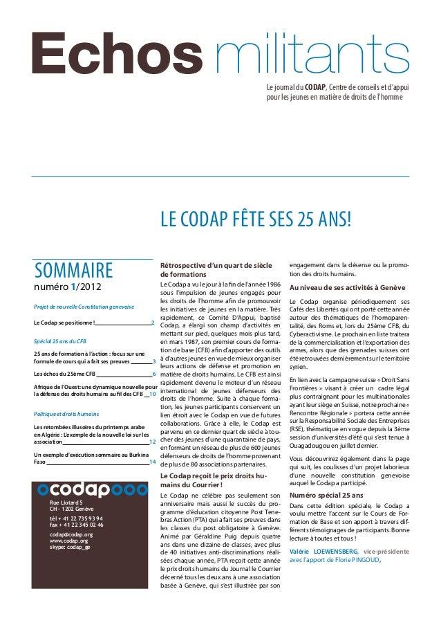 Le journal du CODAP, Centre de conseils et d'appui pour les jeunes en matière de droits de l'homme Echos militantsLe journ...