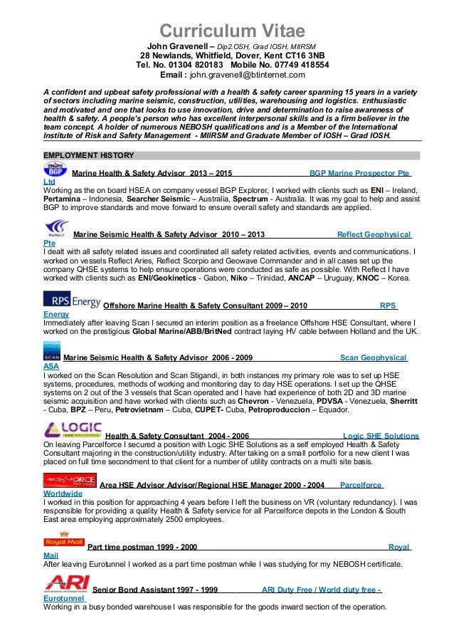 Curriculum Vitae John Gravenell Dip2OSH Grad IOSH MIIRSM 28 Newlands