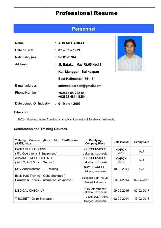 rig resume