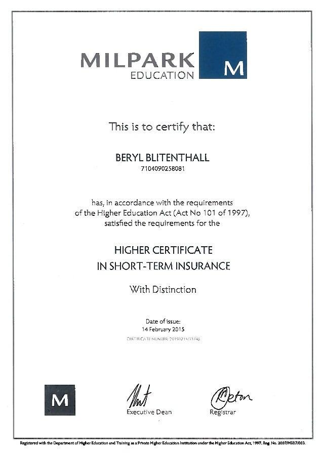 Higher Certificate In Short Term Insurance