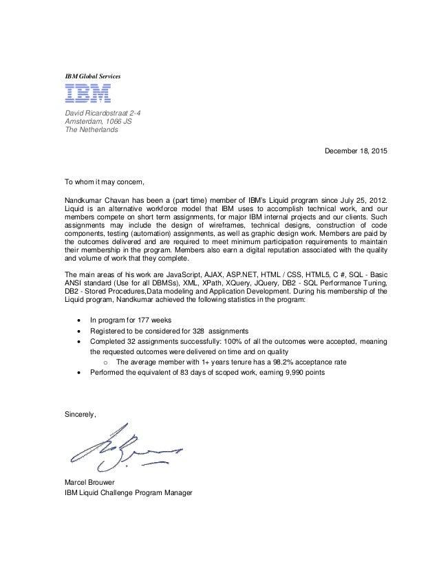 Ibm reference letter nandkumar chavan ibm reference letter nandkumar chavan ibm global services december 18 2015 to whom it may concern nandkumar chavan has expocarfo Images