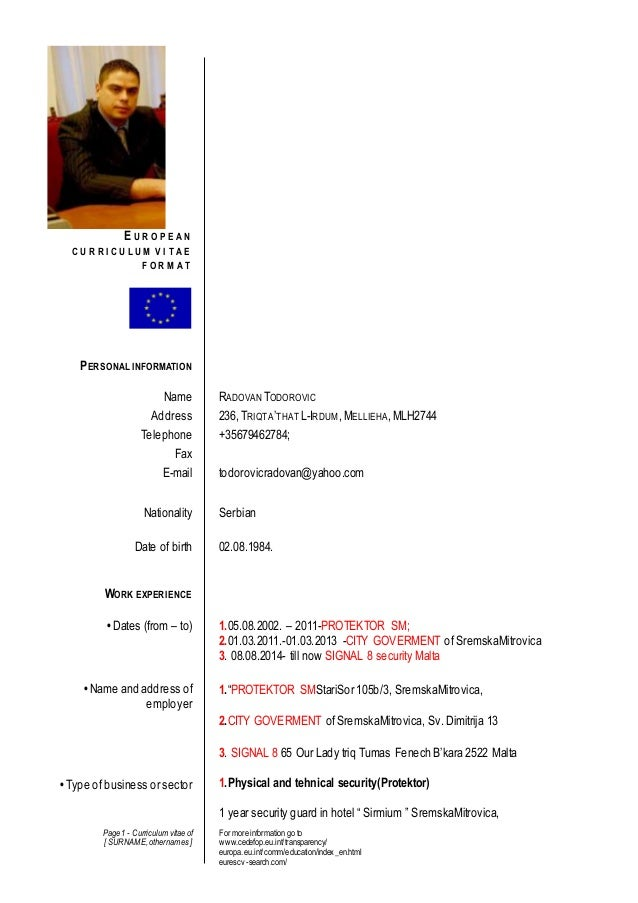 Page 1 - Curriculum vitae of [ SURNAME,othernames] For more information go to www.cedefop.eu.int/transparency/ europa.eu.i...