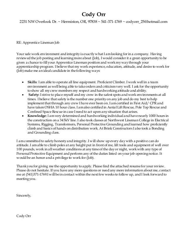 Cover Letter And Resume For Lineman - 89+ Cover Letter Samples