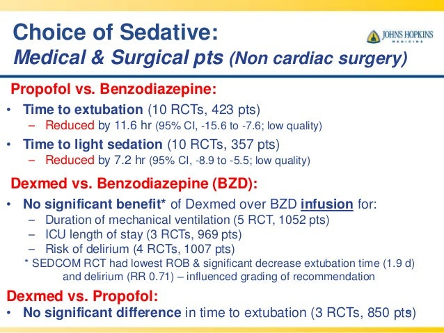 Choice of Sedative: Medical & Surgical pts (Non cardiac surgery) 49 Propofol vs. Benzodiazepine: • Time to extubation (10 ...