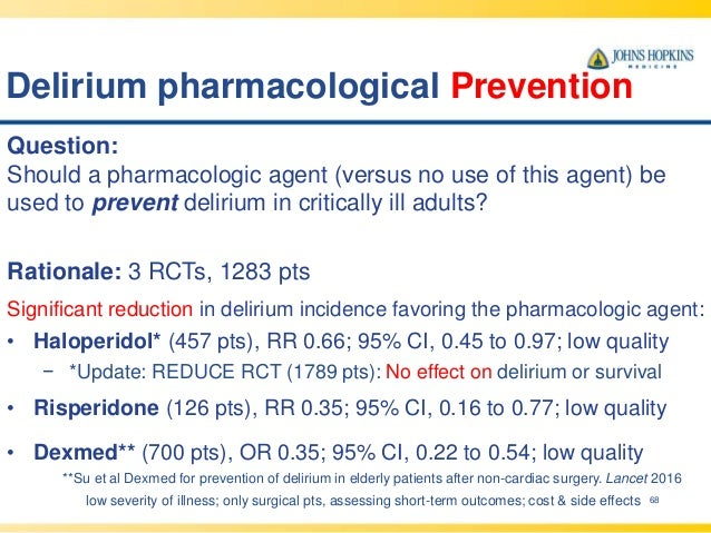 Delirium pharmacological Prevention 68 Question: Should a pharmacologic agent (versus no use of this agent) be used to pre...
