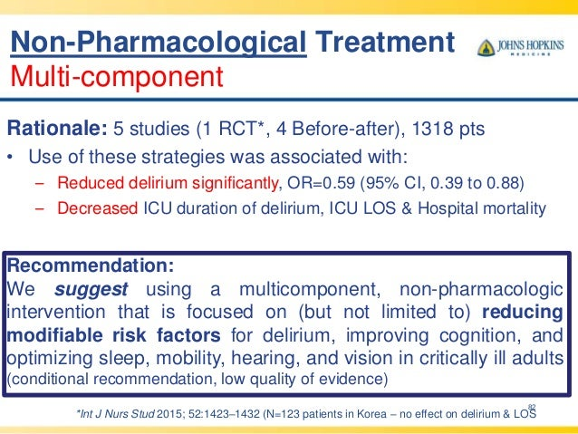 82 Rationale: 5 studies (1 RCT*, 4 Before-after), 1318 pts • Use of these strategies was associated with: – Reduced deliri...