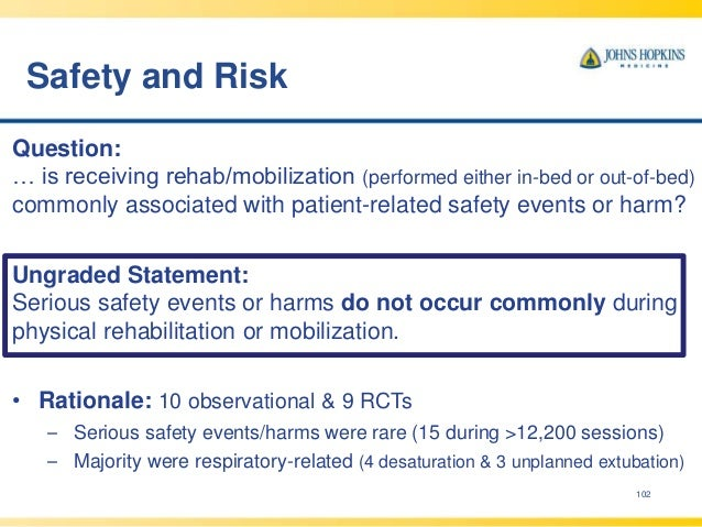 Safety and Risk 102 Question: … is receiving rehab/mobilization (performed either in-bed or out-of-bed) commonly associate...
