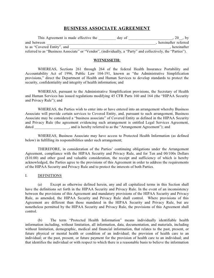 Sample Business Associate Agreement – Business Associate Agreement Template