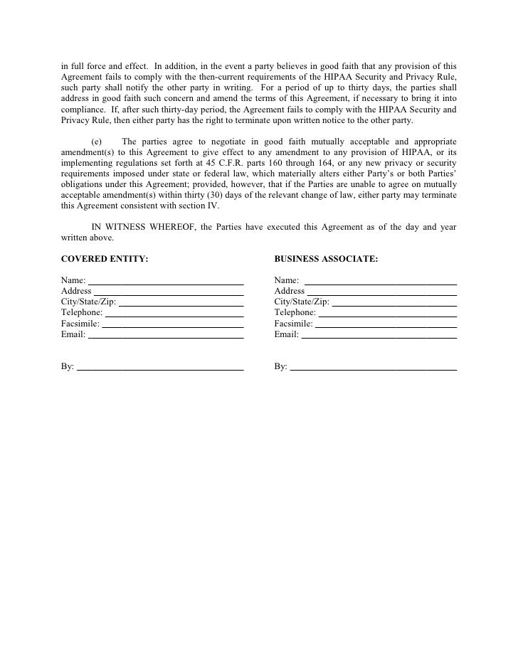 Sample Business Associate Agreement – Business Associate Agreement Samples