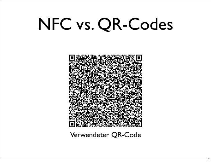 NFC vs. QR-Codes   Verwendeter QR-Code                         7