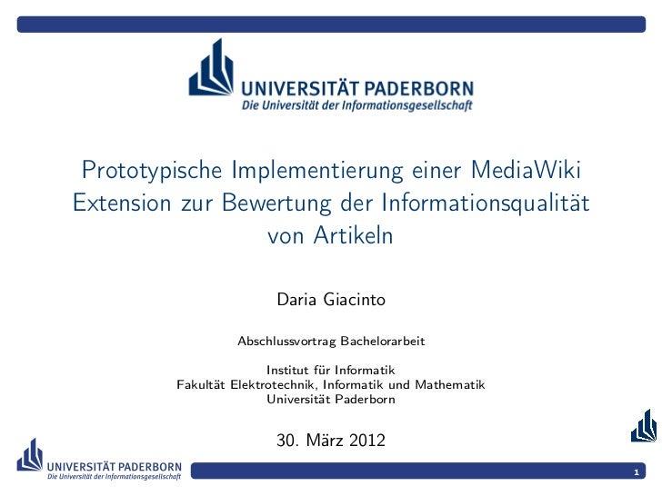 Prototypische Implementierung einer MediaWikiExtension zur Bewertung der Informationsqualität                  von Artikel...